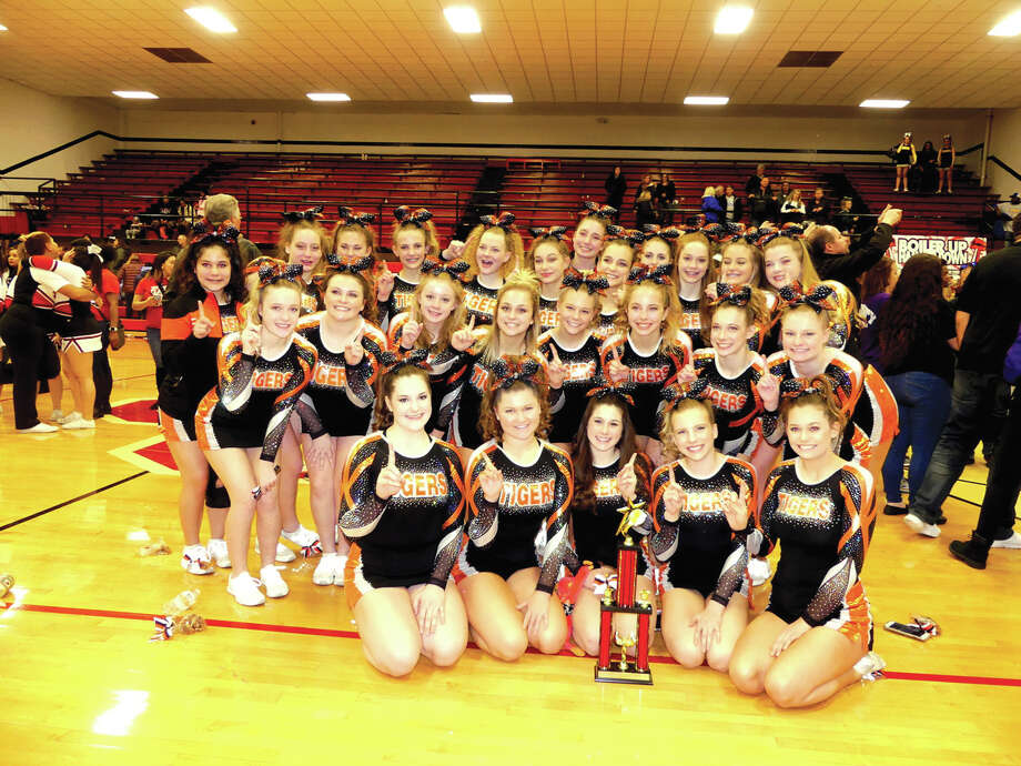 The Edwardsville High School Varsity Cheerleading team competed at the Boilmaker Classic at Bradley-Bourbonnais Community High School in Bradley, Illinois on Sunday, December 10, 2017.  The Varsity cheerleaders received first place in the Large Varsity Division. Photo: For The Intelligencer