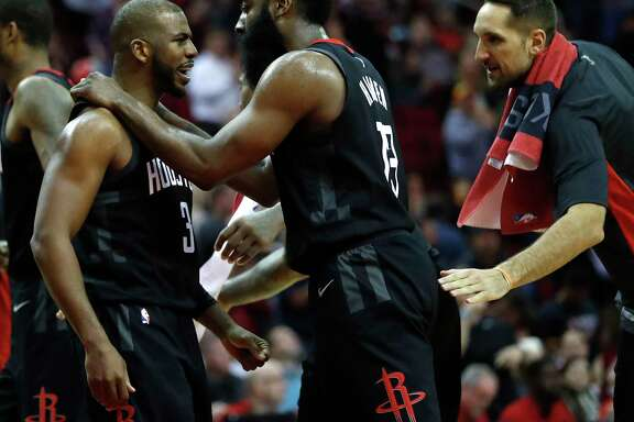 The tandem of Chris Paul (3) and James Harden has so far proved to be unbeatable as the Rockets take an 11-game winning streak into tonight's game against the Spurs.