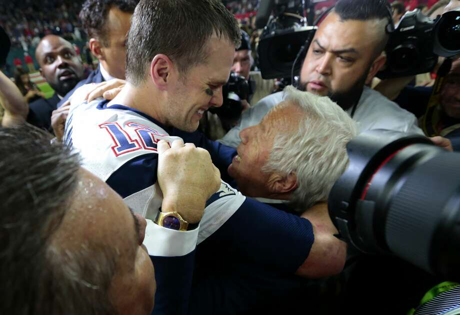 New England Patriots quarterback Tom Brady left, celebrates with Patriots owner Robert Kraft right, after the Patriots defeated the Atlanta Falcons in Super Bowl LI at NRG Stadium on Sunday, Feb. 5, 2017, in Houston. Photo: Brett Coomer/Houston Chronicle
