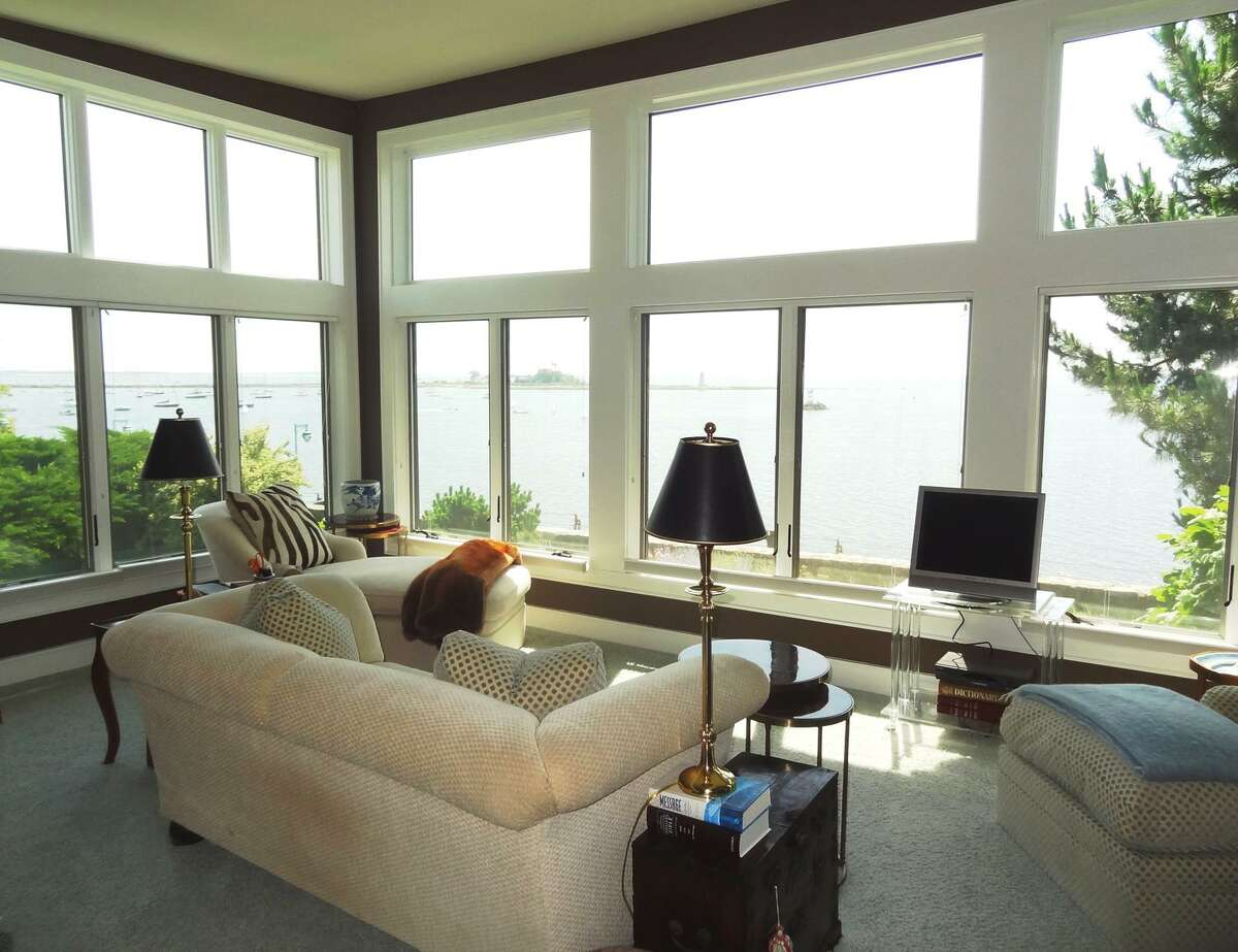 The sweeping views of Long Island Sound are the crown jewel of the 2,806 square foot house at 105 Battery Park Drive in Bridgeport's Black Rock section. The water can be glimpsed from nearly every room of the two-bedroom, three bathroom house, and the entire back of the main living space is windowed, creating a frame for the sound. The current owner is retired actress Kathryn Hays, who spent more than 38 years on the soap opera
