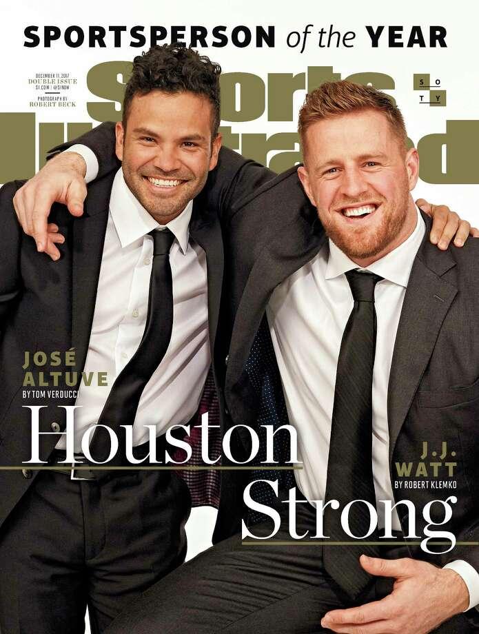 Astros' Jose Altuve and Texans' J.J. Watt: Dec. 4, 2017  Photo: HONS / Sports Illustrated