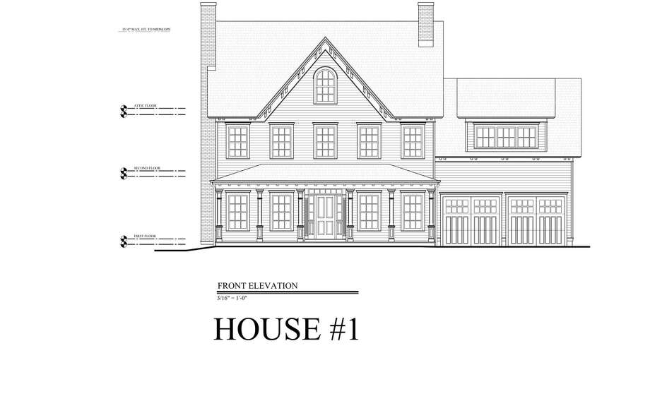 Greens Farms Developers presented 5 home options for 20 Morningside Drive South in Westport. This is the first option. Photo: Contributed Photo