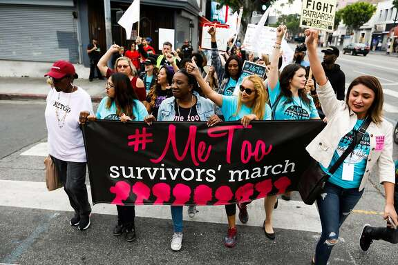 Sexual assault survivors along with their supporters at the #MeToo Survivors March against sexual abuse Sunday, Nov. 12, 2017 in Los Angeles, Calif. As a reckoning over sexual harassment sweeps the country, leaders in business, academia and other walks of life are pushing to sustain the momentum and ensure a positive, lasting cultural change without it getting derailed by politics, social media frenzies and outsize responses to infractions many deem small. (Gary Coronado/Los Angeles Times/TNS)