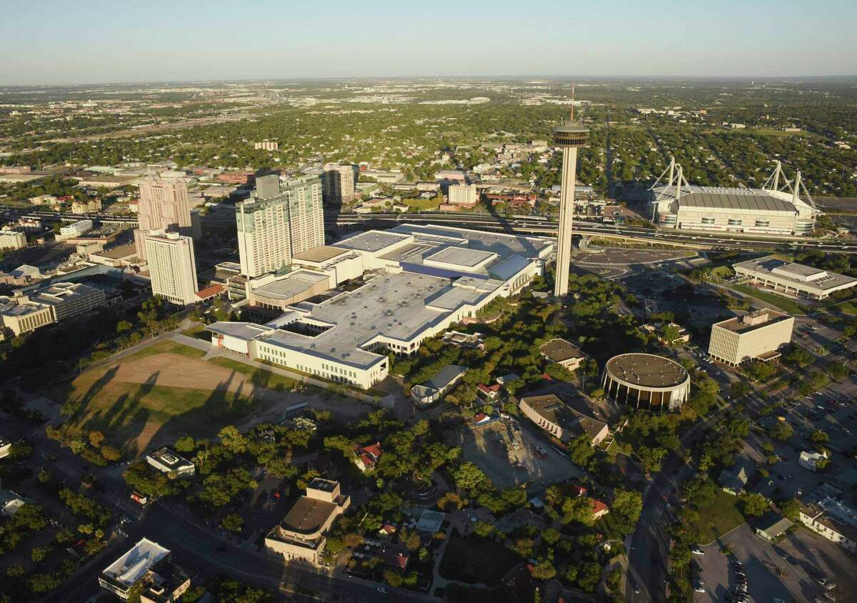 The largest convention canceled to date, the National Society of Black Engineers, would have attracted about 14,000 members to its annual meeting slated for March 25-29 at the Convention Center, shown in the center of this 2017 photo. The Henry B. Gonzalez Convention Center is seen in the center in downtown San Antonio on Thursday, Oct. 26, 2017. The Tower of the Americas and the Alamodome are at right.