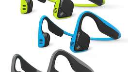Trekz Titanium Bone-Conducting Wireless Headphones: Bone conducting technology delivers music through your cheekbones, ensuring that your ears remain completely open to hear announcements in airports and on airplanes. It's a safer option for joggers as they can easily hear traffic and animals. The headphones are very lightweight and can be rolled up, twisted and put inside of your pocket. $99 Gray, pink, Red, Blue, Ivy Brookstone www.brookstone.com