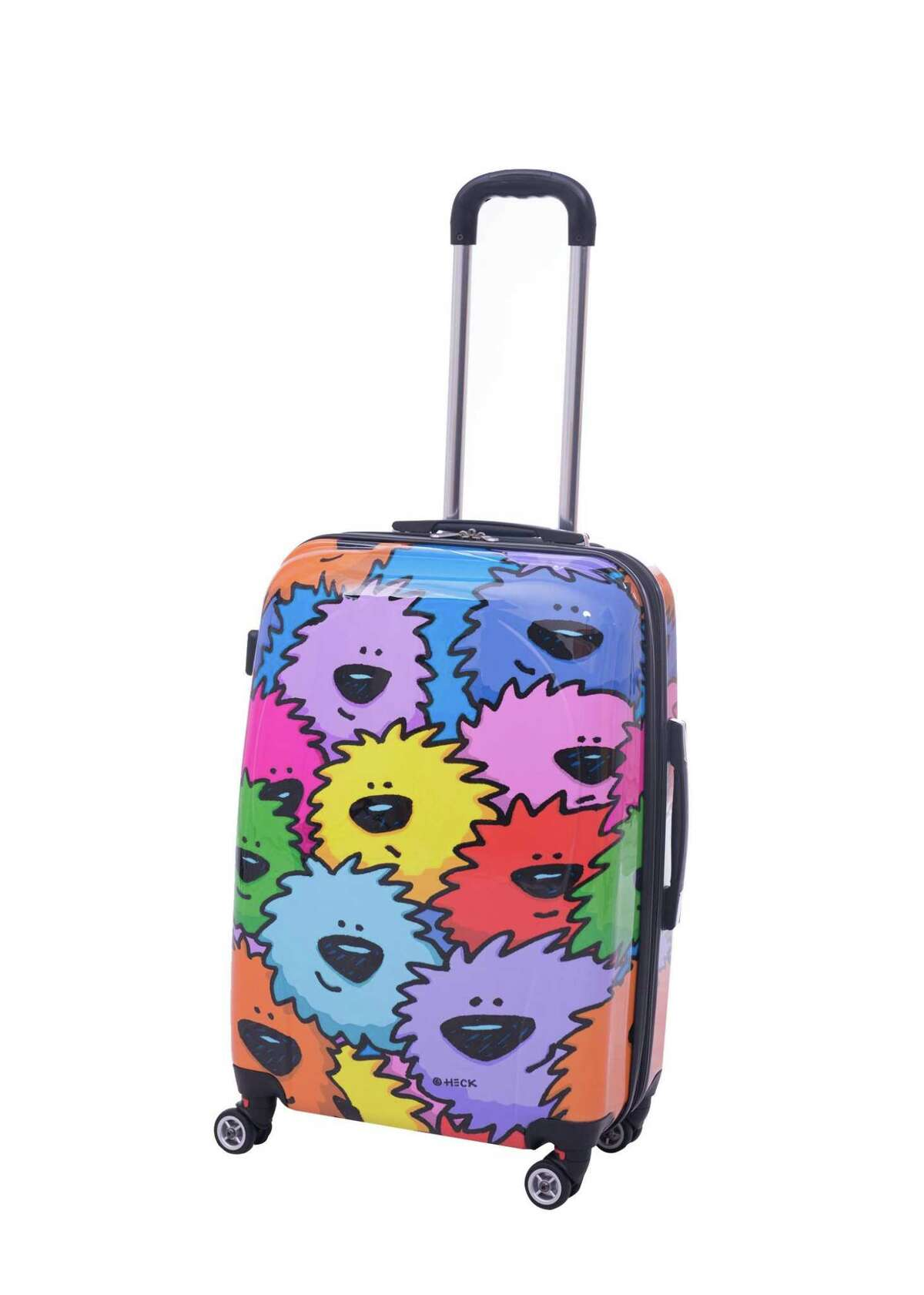 """Ed Heck Sebastian 8-Wheeled Hardside Spinner Luggage: Your teenager will go """"gaga"""" over this ultra cool suitcase designed by Celebrity Pop Artist Ed Heck. They'll surely stand out in a crowd and the hard-sided colorful bag is easy to spot on the baggage carousel. The durable Sebastian Collection absorbs impacts and features 360º multi-directional spinner wheels that will glide easily on all surfaces. Self-repairing nylon zippers plus expandability to accommodate those last minute packing items. Around $100. LongLat available in 21""""/25""""/29"""" At longlatinc.com."""