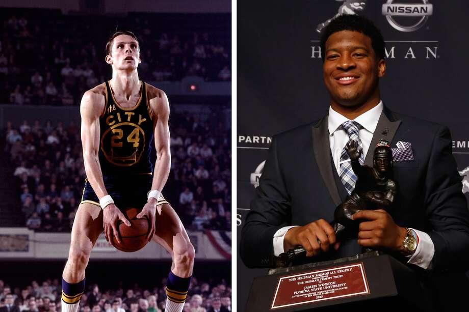 NBA legend Rick Barry, left, and 2013 Heisman Trophy winner Jameis Winston. (Getty Images)
