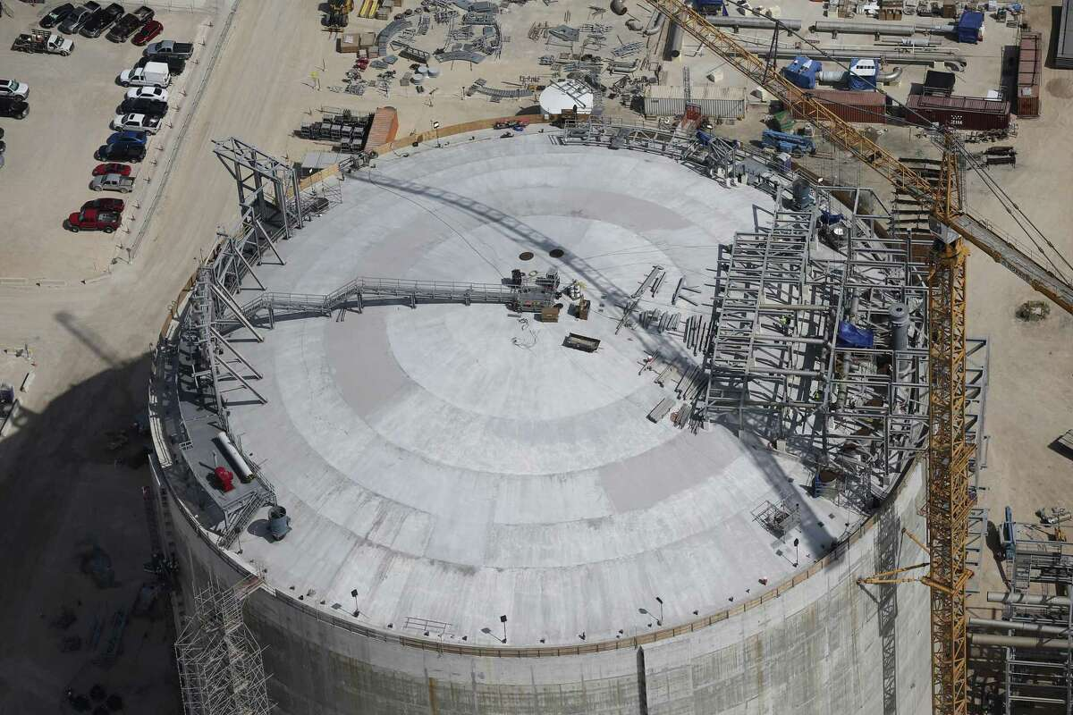 This tank being constructed at the Cheniere Liquid Natural Gas plant is 253 feet in diameter.