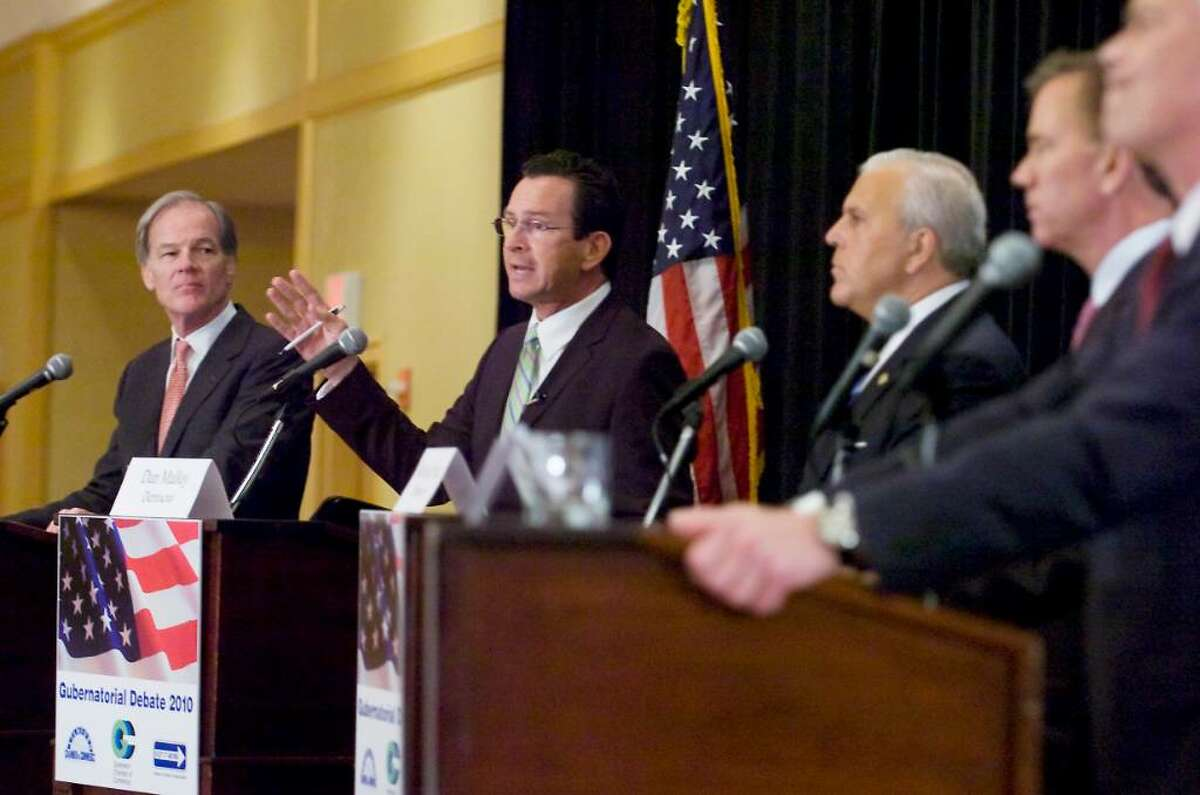Candidates (L to R) Republican Tom Foley, Democrat Dan Malloy, Republican Michael Fedele, Democrat Ned Lamont and Republican Oz Griebel participate in the 2010 Gubernatorial Debate at the Stamford Plaza Hotel & Conference Center in Stamford, Conn. on Tuesday June 29, 2010.