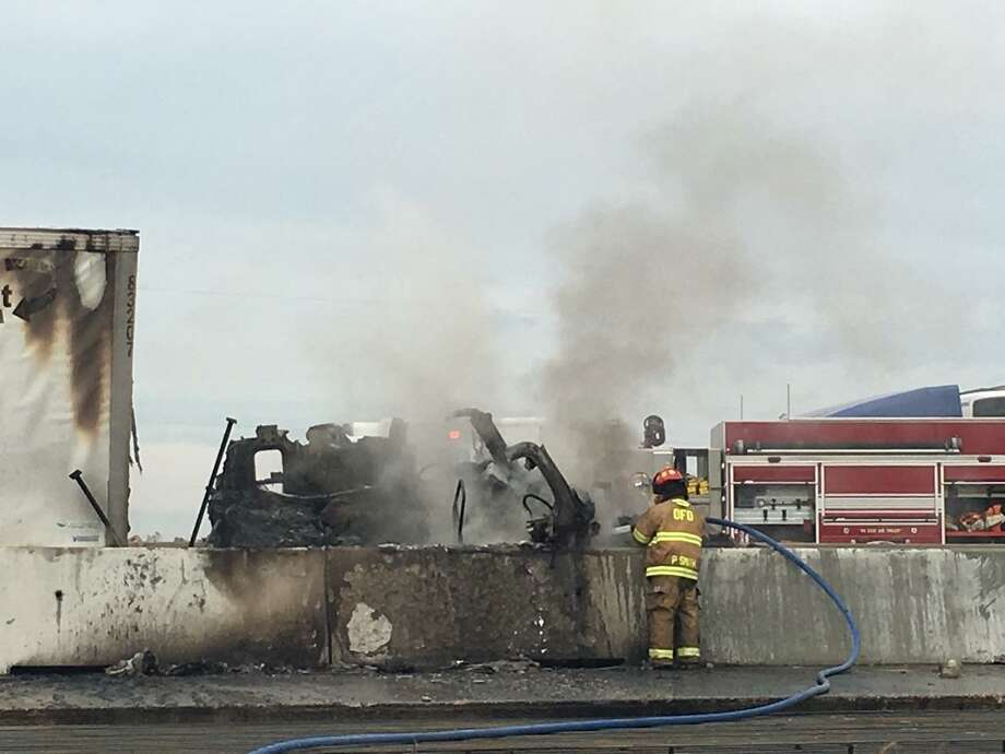 An 18-wheeler fire closed I-10 Eastbound near FM 1442 Thursday, Dec. 14, 2017. Photos: Krista Chandler/The Enterprise Photo: Krista Chandler/The Enterprise