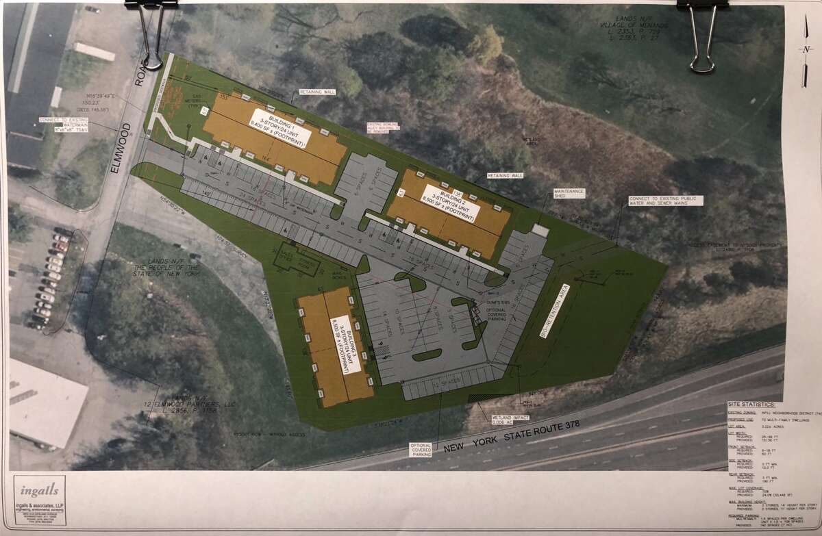 A site plan for a new apartment complex at 5 Elmwood Rd. in Menands, N.Y. on display on Dec. 13, 2017.