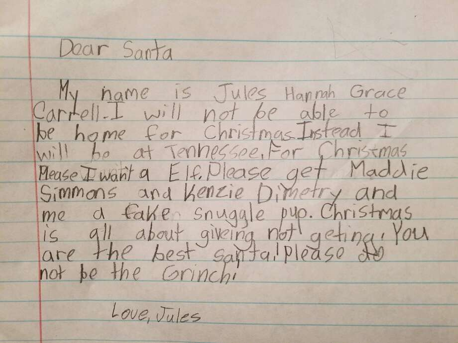 Little Jules Carrell from Kirbyville has the Christmas spirit! Get your letters to the Jasper Newsboy today and tomorrow. Letters will be published in the December 20th issue of the Jasper Newsboy.