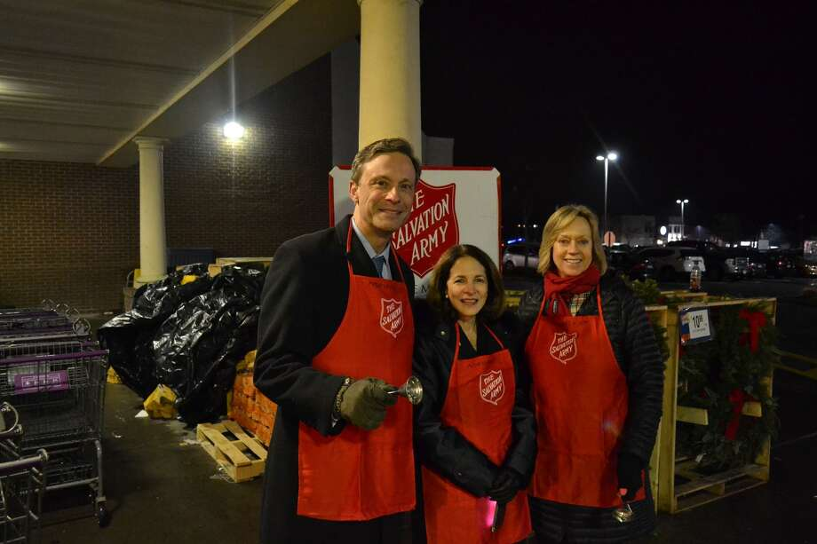 State Reps. Gail Lavielle (R-Wilton), Fred Wilms (R-Norwalk), and Terrie Wood (R-Norwalk) teamed up with the Salvation Army on Tuesday to ring the bell outside Stop & Shop on Main Avenue in Norwalk and raise money for local residents in need this holiday season as a part of their Red Kettle Campaign. Photo: Contributed Photo