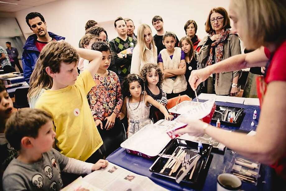 Families participate in art activities at the Contemporary Jewish Museum. Photo: Gary Sexton