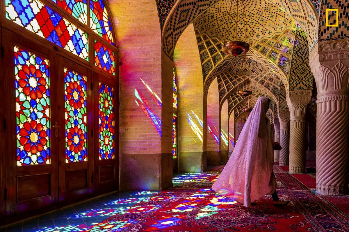 Uncommon in mosques, the stained glass windows of Iran's Nasir al Molk in Shiraz illuminate its Persian carpets with a kaleidoscope of patterned flecks of light.This photo originally published in