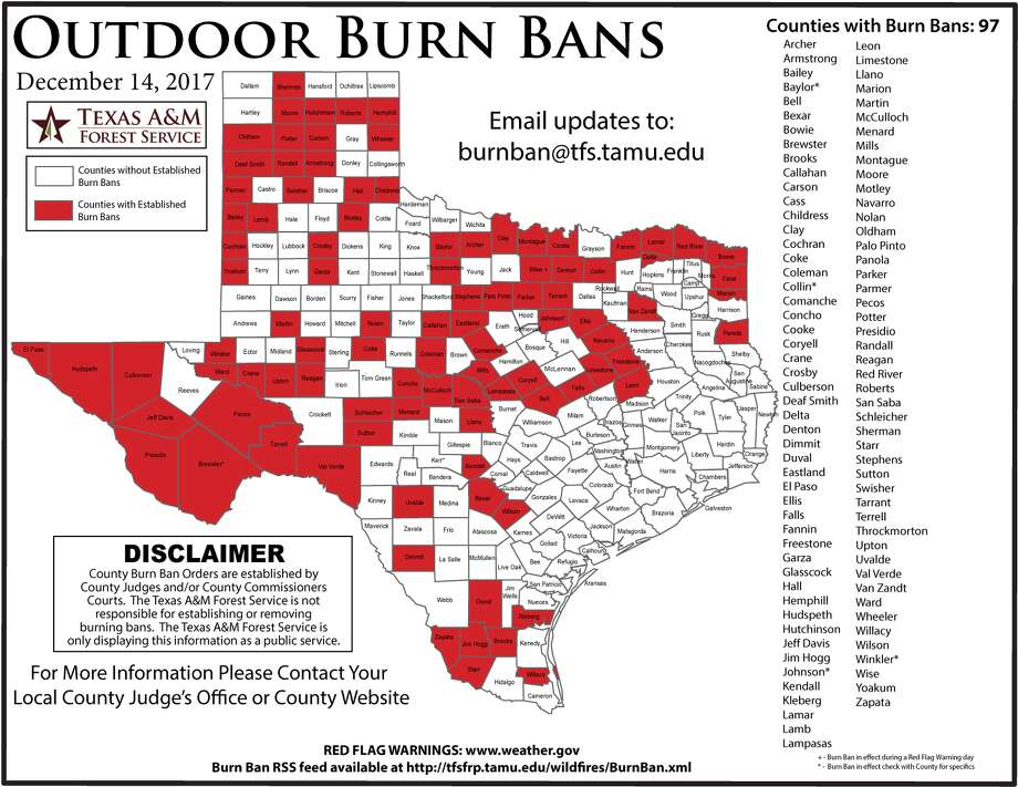 More than one-third of Texas' counties are under a burn ban due to drought conditions.See photos from the panhandle wildfires that caused tragedy in Texas earlier this year. Photo: Texas A&M Forest Service