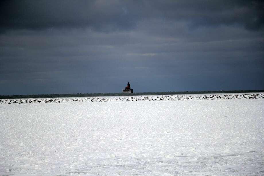 A wintery scene at the Port Austin breakwall. Photo: Seth Stapleton/Huron Daily Tribune