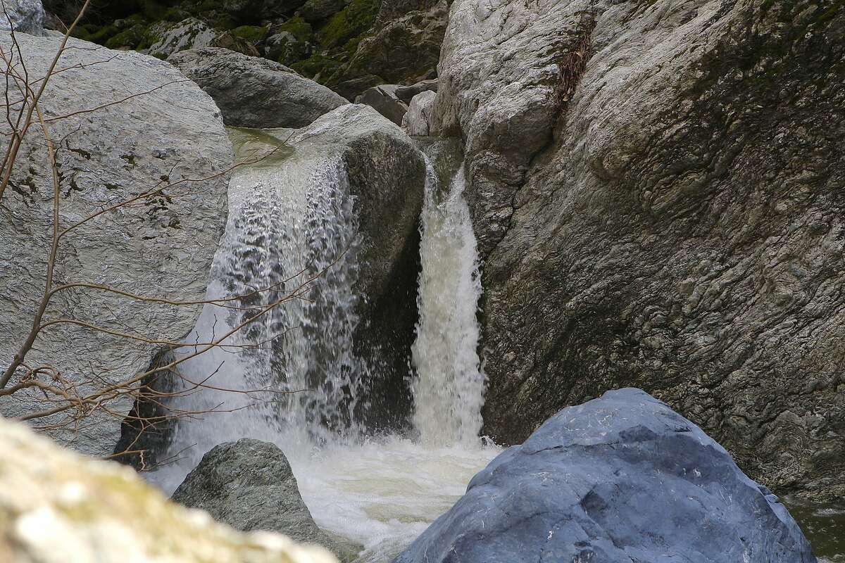 Upper Falls at Little Yosemite. The headwaters of Alameda Creek has been recharged by recent rainfall to create surging stream flows and miniature waterfalls in a pool-and-drop rocky gorge of Little Yosemite at Sunol-Ohlone Regional Wilderness in East Bay