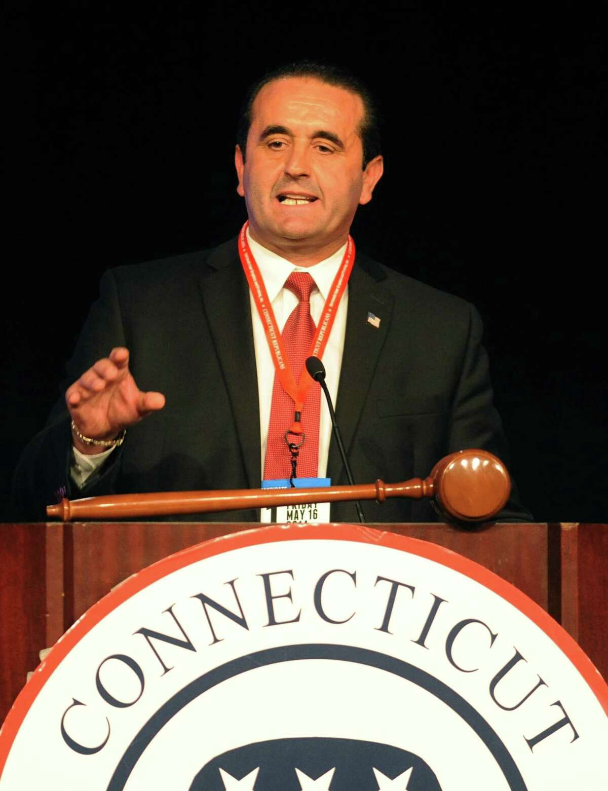 Peter Lumaj gives a speech after being selected as the Republican candidate for Secretary of the State at the Connecticut Republican Convention at the Mohegan Sun Uncas Ballroom in Uncasville, Conn. Friday, May 16, 2014.