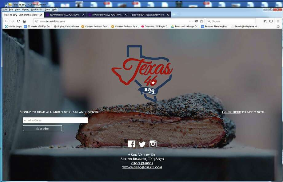 The Texas 46 BBQ home page at texas46bbq.com showcases the logo and the brisket at the new bar and smokehouse that will be located in Spring Branch at 2 Sun Valley Dr. Photo: Screen Grab Of Texas46bbq.com.
