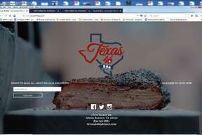 The Texas 46 BBQ home page at texas46bbq.com showcases the logo and the brisket at the new bar and smokehouse that will be located in Spring Branch at 2 Sun Valley Dr.