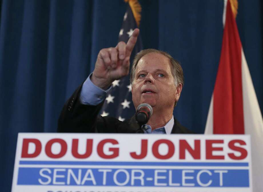 Democratic U.S. Senator-elect Doug Jones speaks during a news conference Wednesday in Birmingham , Ala. He won because in a sense his opponent was Trump's Trump. Photo: John Bazemore /Associated Press / Copyright 2017 The Associated Press. All rights reserved.