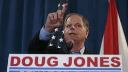 Democratic U.S. Senator-elect Doug Jones speaks during a news conference Wednesday in Birmingham , Ala. He won because in a sense his opponent was Trump's Trump.