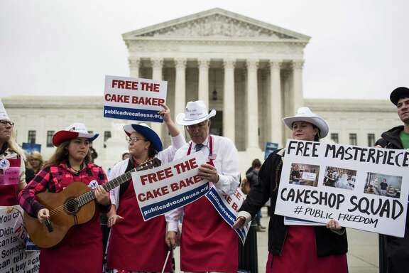 Demonstrators rally outside the Supreme Court, as justices hear oral arguments on whether a Colorado baker was entitled to refuse to make a wedding cake for a gay couple. A reader says the case is much ado about nothing.