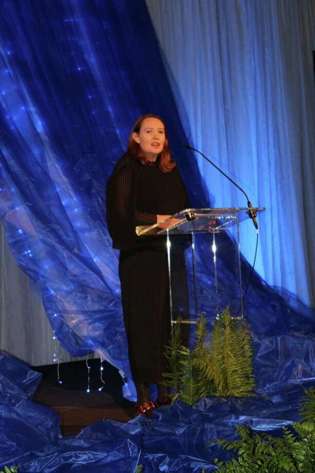 Paula Hawkins, keynote speaker at the 13th Annual Signature Author Series hosted by The John Cooper School, speaks to hundreds following the luncheon. Photo: Patricia Dillon
