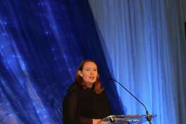Paula Hawkins, keynote speaker at the 13th AnnualSignature Author Series hosted by The John Cooper School, speaks to hundreds following the luncheon.