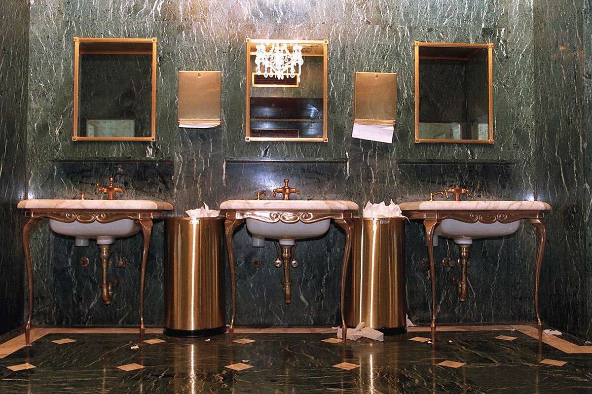 The green marble bathroom at I. Magnin's, absorbed into Macy's in the 1990s, has changed hands once again with the recent sale of the building.
