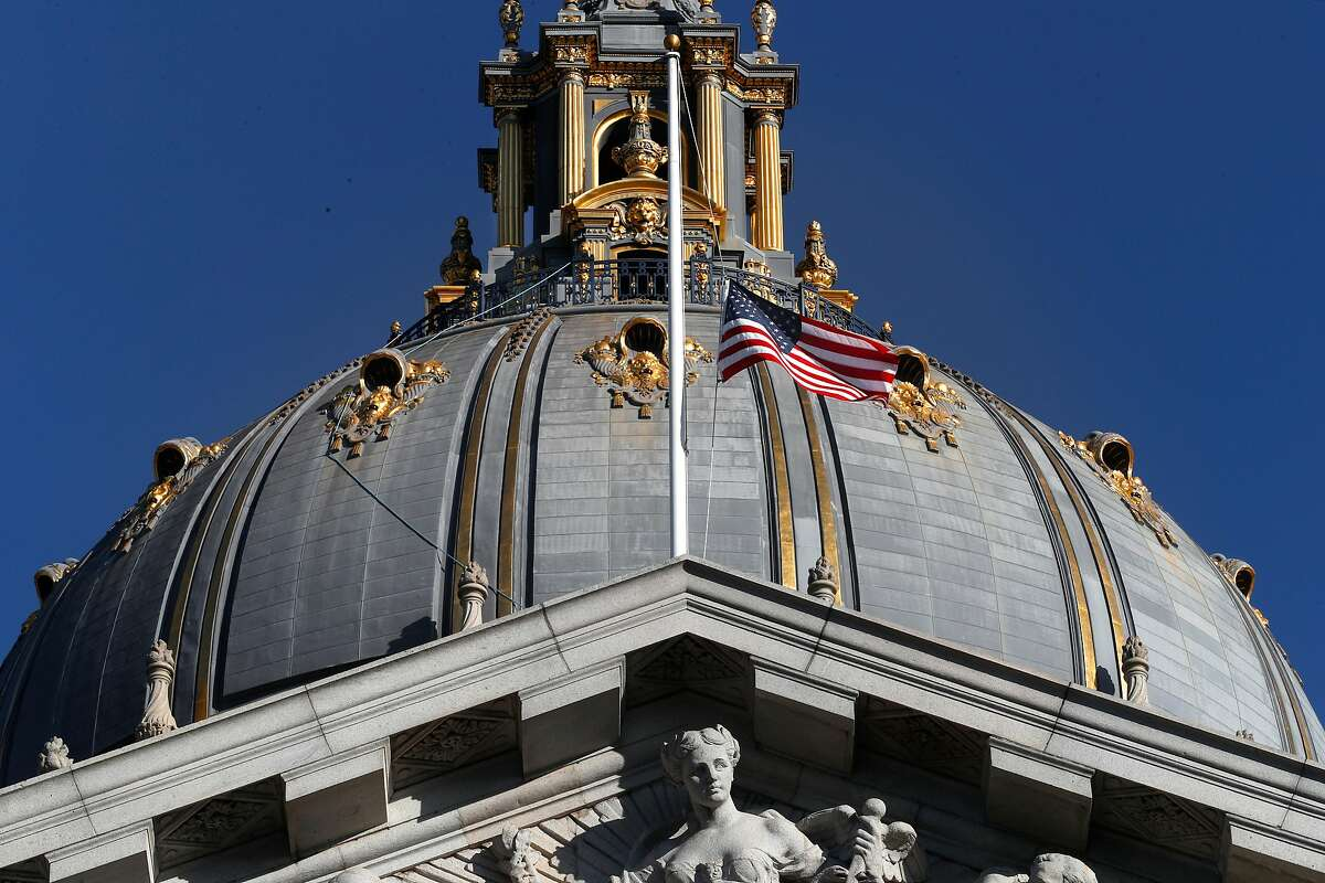 The flag at half staff on San Francisco City Hall, on Thursday December 14, 2017, in San Francisco, Calif., as the City of San Francisco prepares for Mayor Ed Lee To Lie In State At City Hall on Friday Dec. 16th.