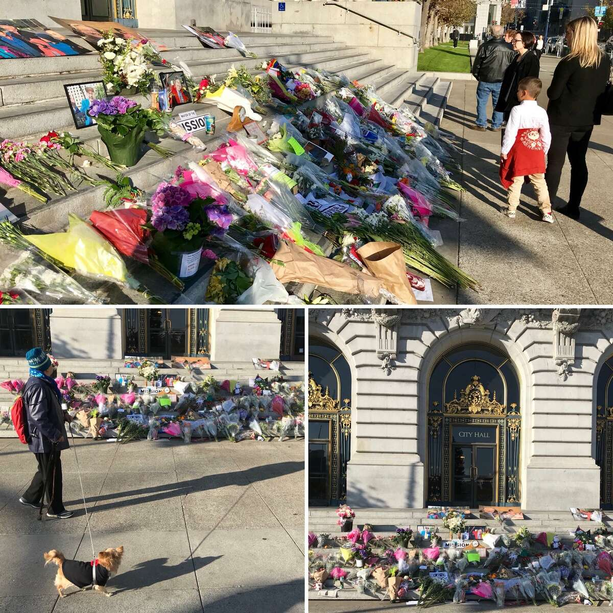 A memorial for Mayor Ed Lee continues to grow as mourners leave flowers, notes and photos on the steps of San Francisco City Hall.