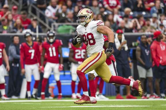 49ers tight end Garrett Celek had a career-long 61-yard reception during Sunday's win in Houston, and later added a 6-yard touchdown to complete the drive.