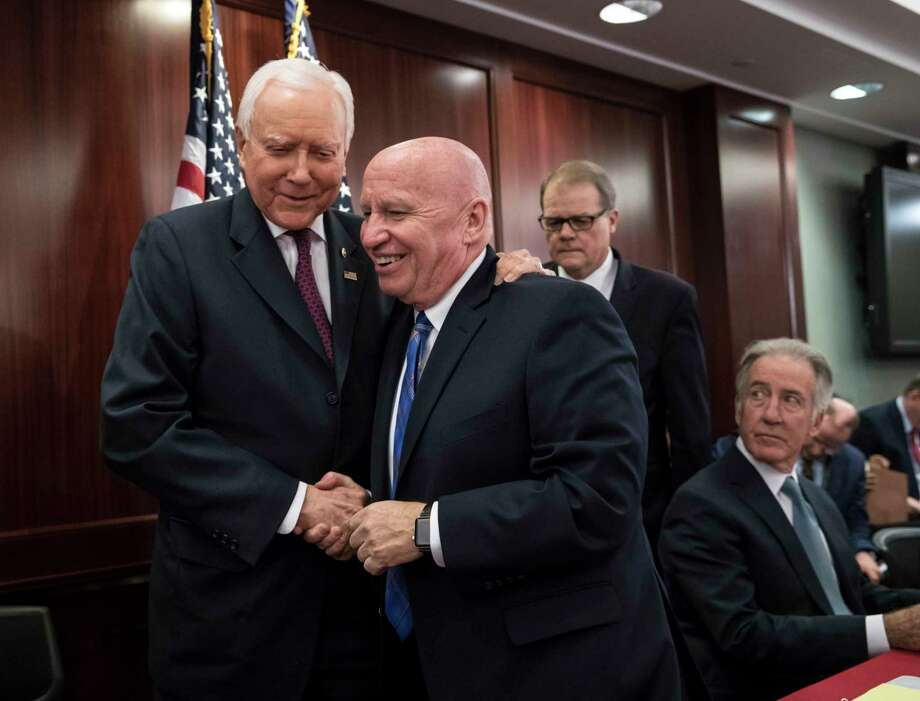 """Tax plan writers Kevin Brady, R-The Woodlands, and Orrin Hatch, R-Utah, proclaimed a bill is """"close.""""  Photo: J. Scott Applewhite, STF / Copyright 2017 The Associated Press. All rights reserved."""