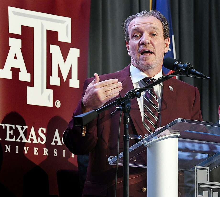 Jimbo Fisher speaks as he is introduced on Dec. 4, 2017 as Texas A&M's new head football coach, in College Station, Texas. Photo: Dave McDermand / /College Station Eagle