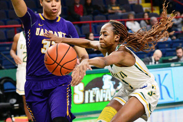 Siena's Aaliyah Jones, right, had 15 points in the Saints' loss to UAlbany at Times Union Center last Saturday. (John Carl D'Annibale/Times Union)