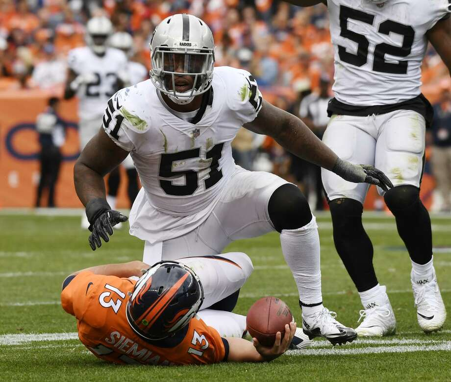 Bruce Irvin (51) of the Oakland Raiders celebrates after sacking Trevor Siemian (13) of the Denver Broncos during the second quarter on Sunday, October 1, 2017. The Denver Broncos hosted the Oakland Raiders. (Photo by Joe Amon/The Denver Post via Getty Images) Photo: Joe Amon / Denver Post Via Getty Images / Copyright - 2017 The Denver Post, MediaNews Group.
