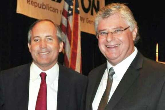 Andrew D. Leonie, seen here in his Facebook profile with Ken Paxton.