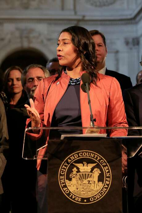 Acting  Mayor London Breed speaks during a press conference outside the Mayor's Office at City Hall  on Tuesday, December 12, 2017 in San Francisco, Calif.  In a statement this morning, officials from the mayor's office said that Lee passed away at 1:11 a.m. at the Zuckerberg San Francisco General Hospital. Lee was 65 years old. Photo: Lea Suzuki, The Chronicle