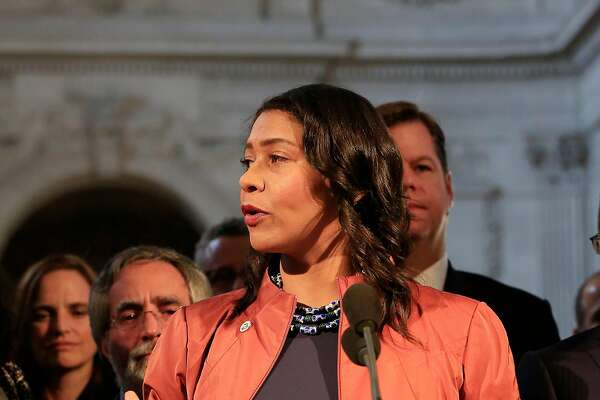 Acting  Mayor London Breed speaks during a press conference outside the Mayor's Office at City Hall  on Tuesday, December 12, 2017 in San Francisco, Calif.  In a statement this morning, officials from the mayor's office said that Lee passed away at 1:11 a.m. at the Zuckerberg San Francisco General Hospital. Lee was 65 years old.