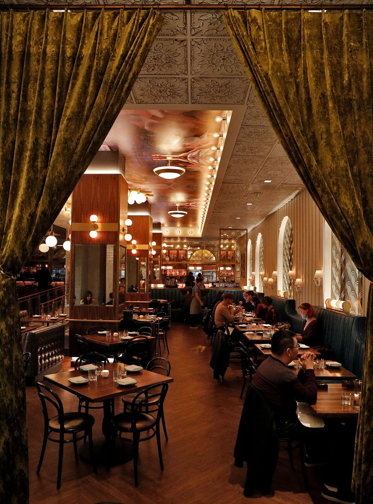 The dining room at the new Gibson restaurant in the redone Bijou Hotel in San Francisco, Calif., on Sunday, December 10, 2017.