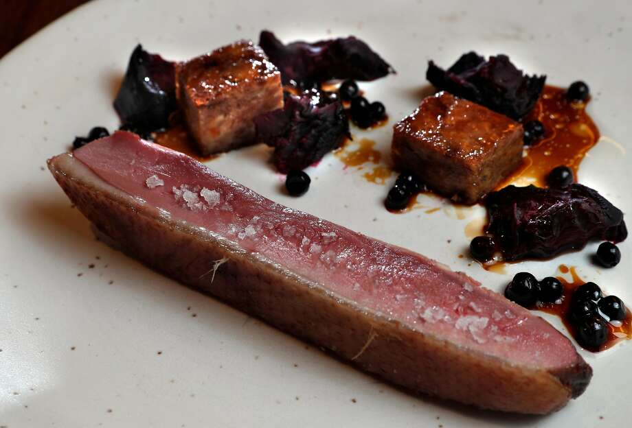 Sonoma duck smoked over the grill with beetroot and huckleberry. Photo: Carlos Avila Gonzalez, The Chronicle