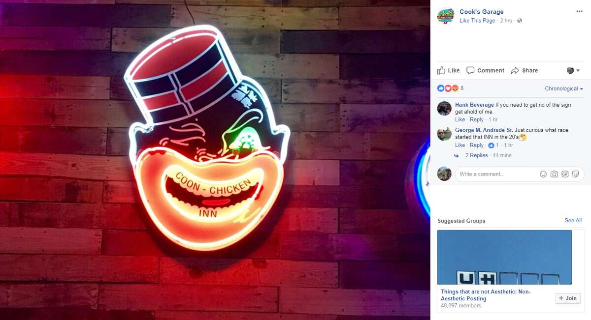 Blackface controversies in the news A controversial sign at Cook's Garage in Lubbock, noted in a 2017 social media post,featured a neon caricature of an African-American male with the words