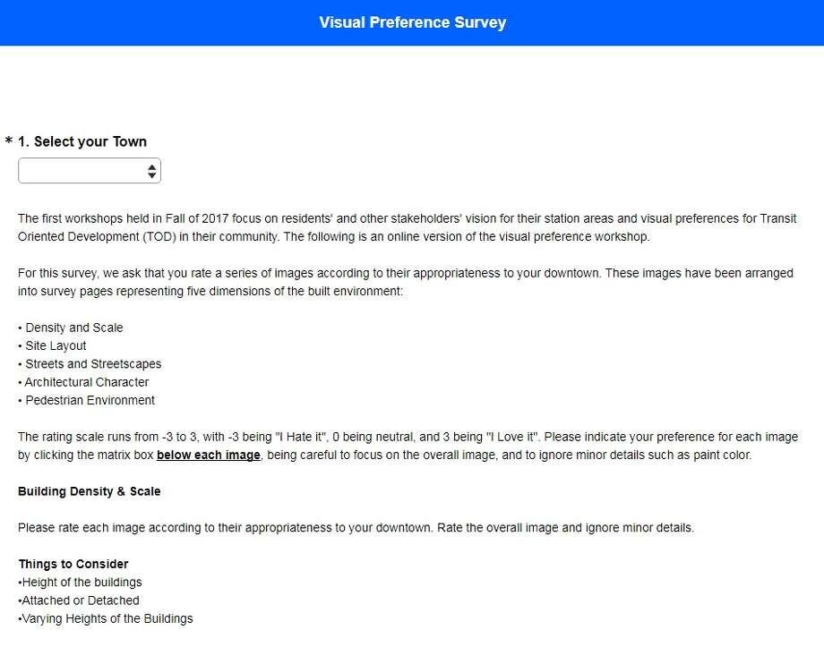 Screenshot of the Naugatuck Valley Council of Governments Visual Preference Survey.https://www.surveymonkey.com/r/Route8visualpreferencesurvey Photo: Naugatuck Valley Council Of Governments