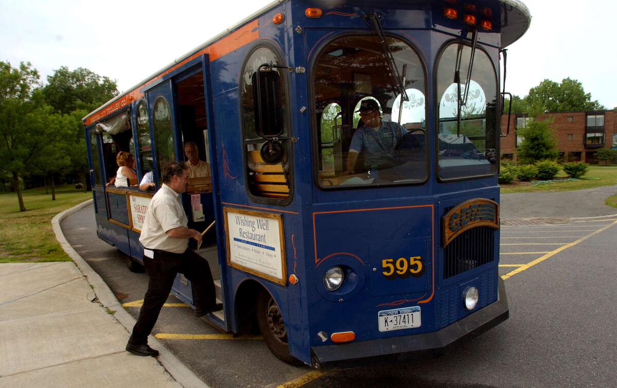 The CDTA Trolley stops at the Tang Museum at Skidmore College in Saratoga Springs, N.Y. (Times Union staff photo by Cindy Schultz)