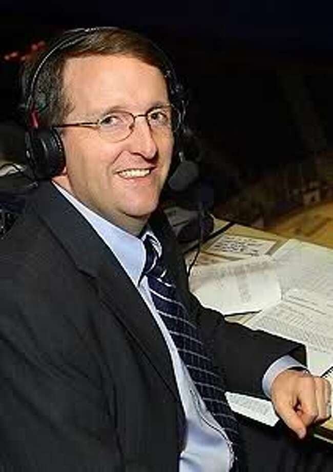 Hartford Wolf Pack play-by-play broadcaster Bob Crawford, who began his 30-year American Hockey League career with the Adirondack Red Wings, got to call his first NHL game Saturday, Dec. 9, as a fill-in on a New York Rangers game. (Photo courtesy Bob Crawford)