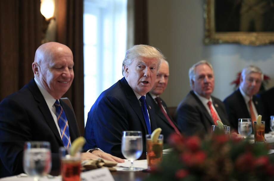 President Donald Trump speaks during a bicameral meeting with lawmakers working on the tax cuts in the Cabinet Meeting Room of the White House in Washington, Wednesday, Dec. 13, 2017. Attending the meeting are, from left, Rep. Kevin Brady, R-Texas; Trump; Sen. Orrin Hatch, R-Utah; Rep. John Shimkus, R-Ill., and Rep. Fred Upton, R-Mich.  Photo: Manuel Balce Ceneta, Associated Press