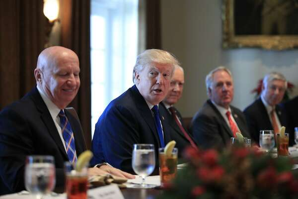 President Donald Trump speaks during a bicameral meeting with lawmakers working on the tax cuts in the Cabinet Meeting Room of the White House in Washington, Wednesday, Dec. 13, 2017. Attending the meeting are, from left, Rep. Kevin Brady, R-Texas; Trump; Sen. Orrin Hatch, R-Utah; Rep. John Shimkus, R-Ill., and Rep. Fred Upton, R-Mich. (AP Photo/Manuel Balce Ceneta)