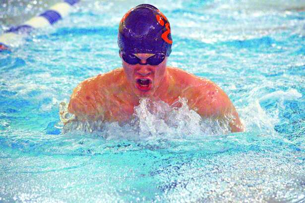 Edwardsville sophomore McLain Oertle competes in the 200-yard medley relay during Thursday's dual meet against O'Fallon at Chuck Fruit Aquatic Center.
